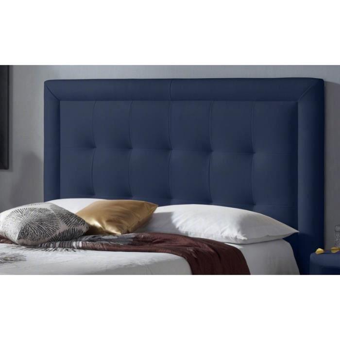 t te de lit pu square couleur bleu mesure lit de 180 cm de large achat vente t te de. Black Bedroom Furniture Sets. Home Design Ideas