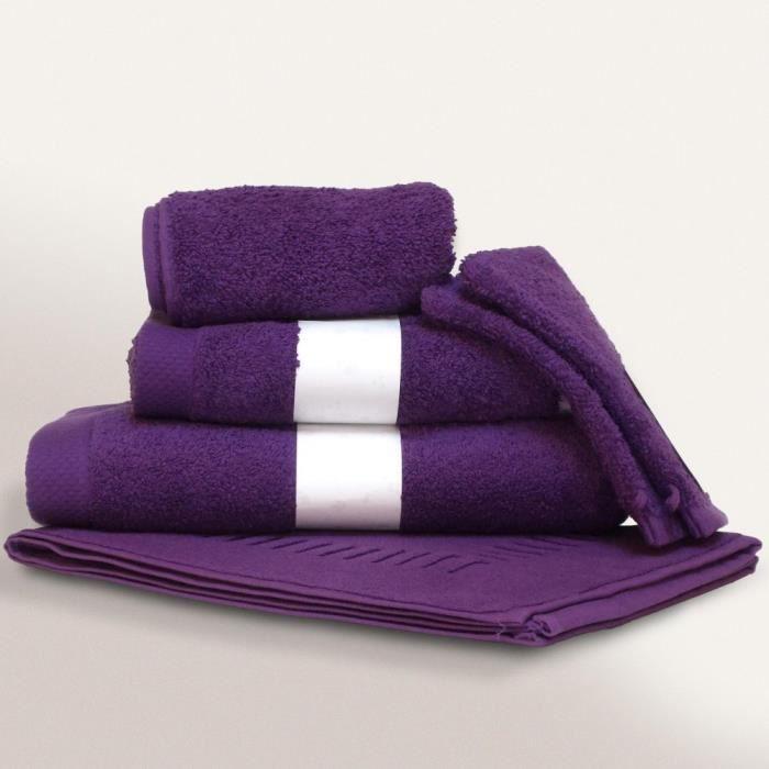 parure de bain 6 pi ces pure violet 550 g m2 achat vente parure de bain cdiscount. Black Bedroom Furniture Sets. Home Design Ideas