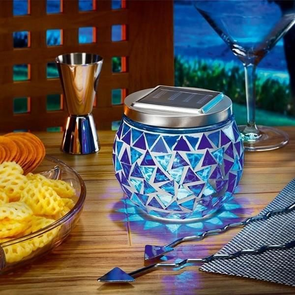 lampe de table solaire brillante bleu achat vente lampe de table solaire bril verre acier. Black Bedroom Furniture Sets. Home Design Ideas