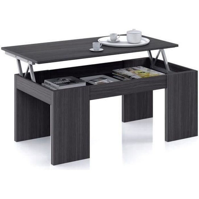 Kendra Table Basse Grise Transformable Plateau Relevable