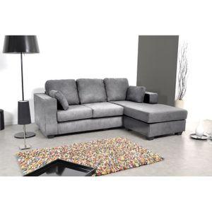 Canapé d'angle reversible microfibre gris CITY.