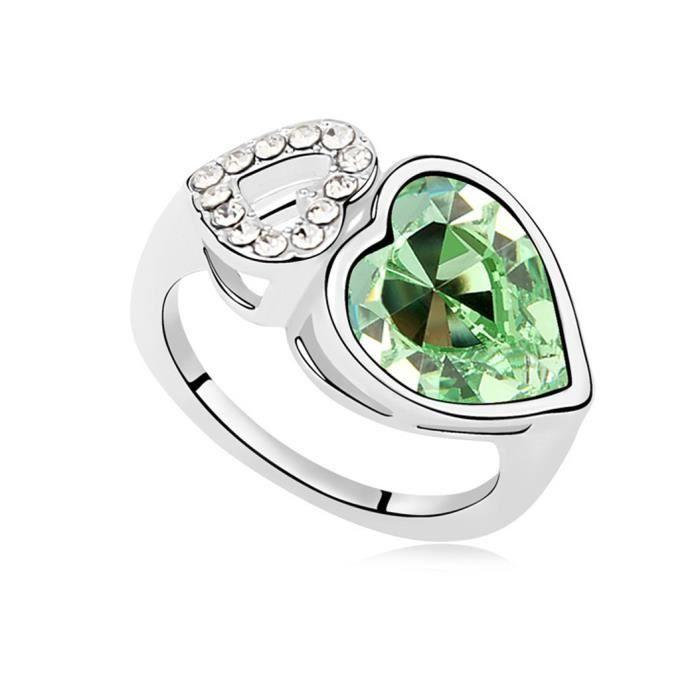 anneau de cristal de mariage de coeur - Achat / Vente bague - anneau ...
