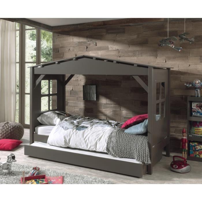 lit cabane taupe avec tiroir gigogne achat vente lit complet lit cabane taupe avec tiroi. Black Bedroom Furniture Sets. Home Design Ideas