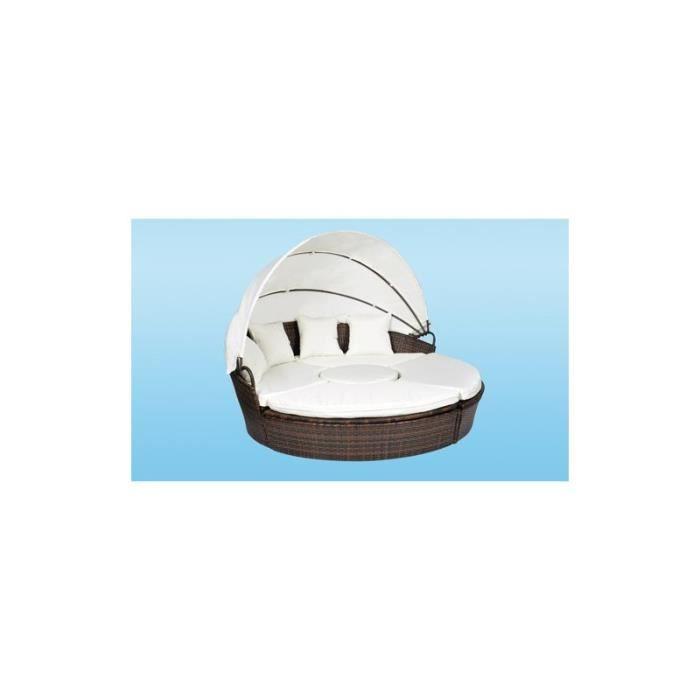 canap de jardin rond modulable en r sine tress e chocolat achat vente salon de jardin. Black Bedroom Furniture Sets. Home Design Ideas