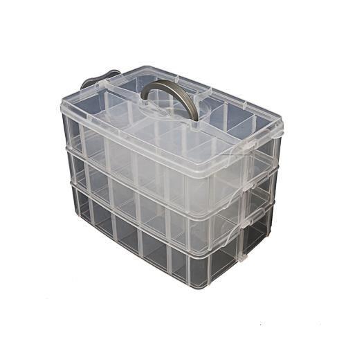 boite de rangement 3 tages avec 30 compartiments achat vente boite de rangement cdiscount. Black Bedroom Furniture Sets. Home Design Ideas