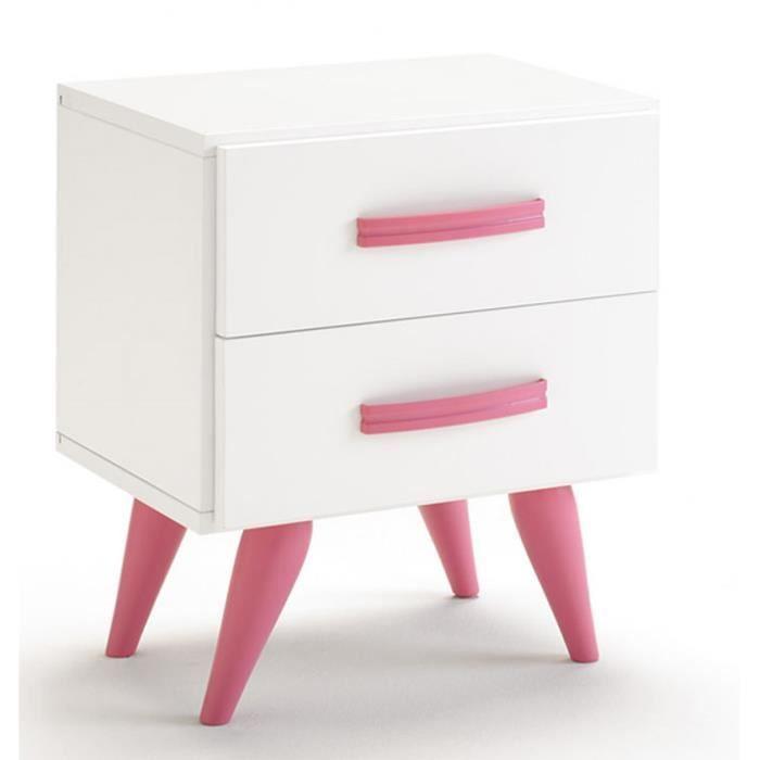table de chevet en bois avec pieds et 2 tiroirs coloris blanc et rose dim h 52 x l 45 x p 34. Black Bedroom Furniture Sets. Home Design Ideas