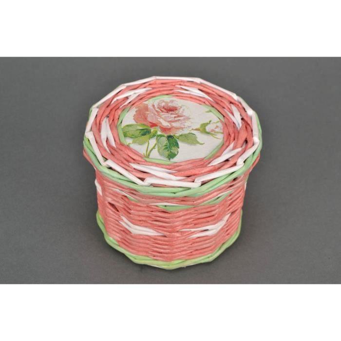 bo te bijoux d osier en papier faite main rose achat vente objet d coratif cadeaux de. Black Bedroom Furniture Sets. Home Design Ideas