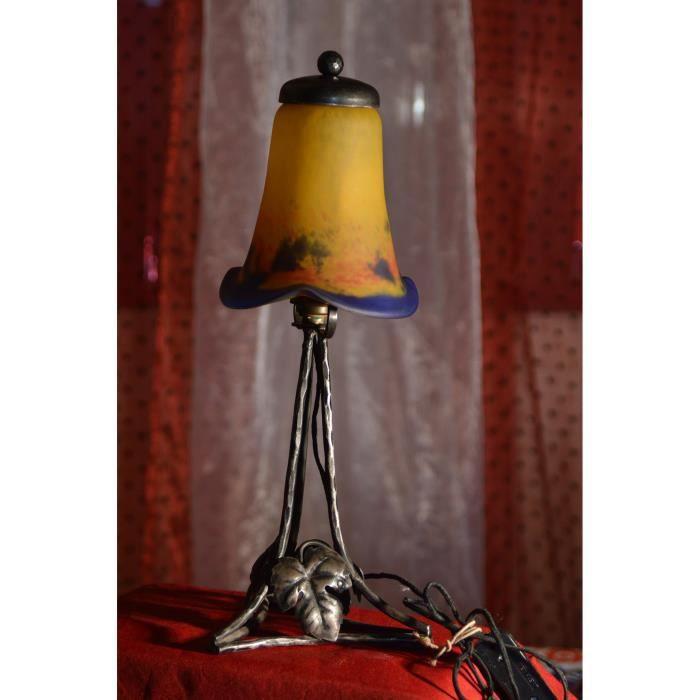 lampe art nouveau p te de verre achat vente lampe art nouveau p te de v cdiscount. Black Bedroom Furniture Sets. Home Design Ideas
