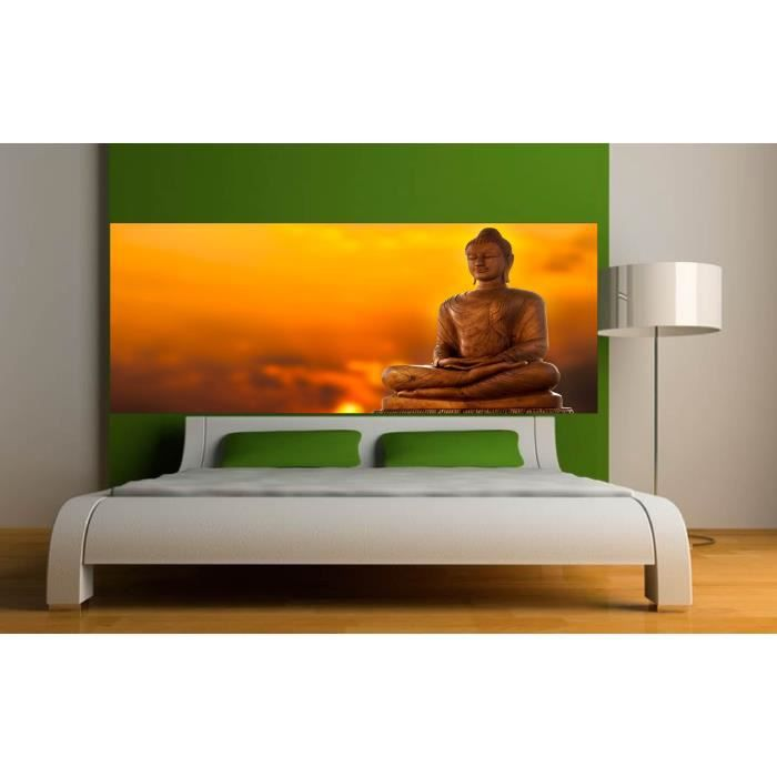 stickers t te de lit d co chambre bouddha dimen terrasse en bois. Black Bedroom Furniture Sets. Home Design Ideas