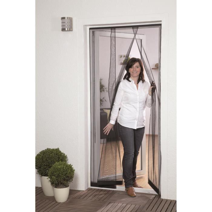 Moustiquaire porte lamelles l125 x h 240 cm noir achat for Porte fenetre avec moustiquaire