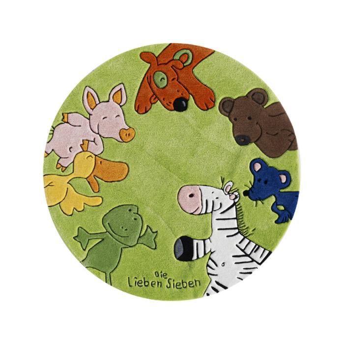 die lieben sieben tapis enfants circle multicouleur 130 cm rond achat vente tapis cdiscount. Black Bedroom Furniture Sets. Home Design Ideas
