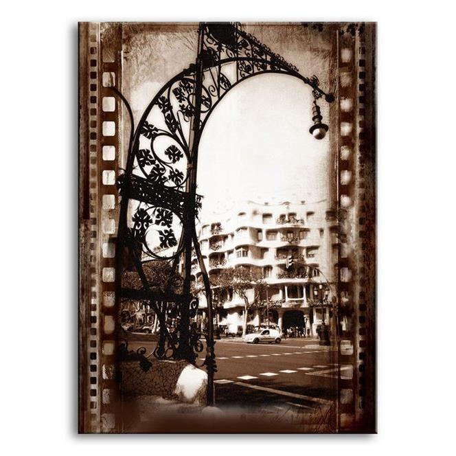 tableau toile cadre en bois dagprints villes barcelona 01 40x30 cm achat vente tableau. Black Bedroom Furniture Sets. Home Design Ideas