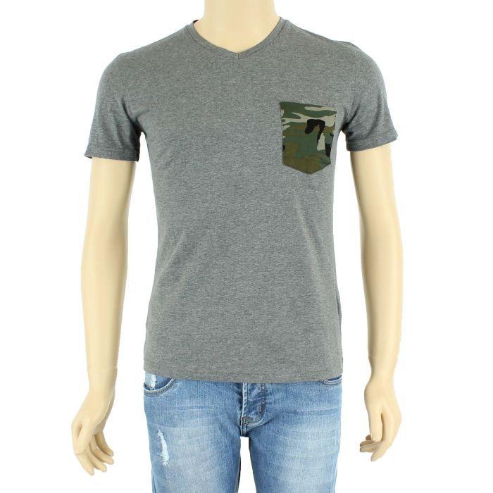 t shirt homme avec poche militaire gris gris achat. Black Bedroom Furniture Sets. Home Design Ideas