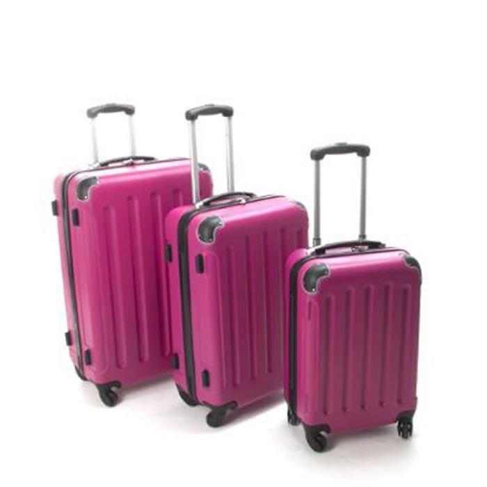 Paris prix set de 3 valises rose rose achat vente set de valises 200996 - Valise a prix discount ...