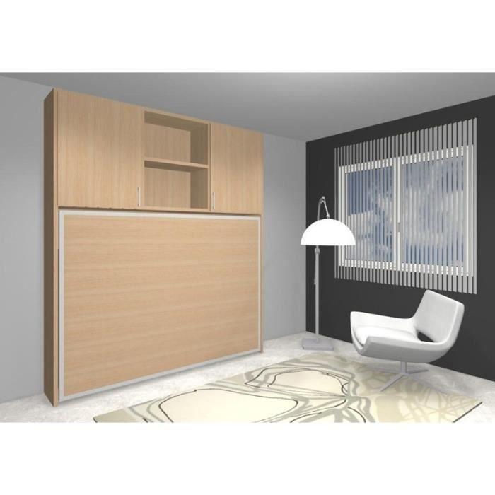 lit escamotable lat ral fleet 140x190cm rangements achat vente lit escamotable cdiscount. Black Bedroom Furniture Sets. Home Design Ideas
