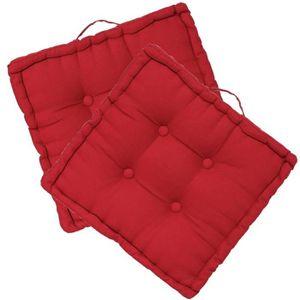 coussin lot de 2 coussins de sol carrs coloris rouge - Coussin Color Pas Cher