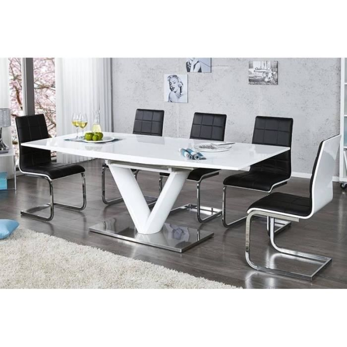 Table manger design laque blanche belco01 achat for Table a manger blanche