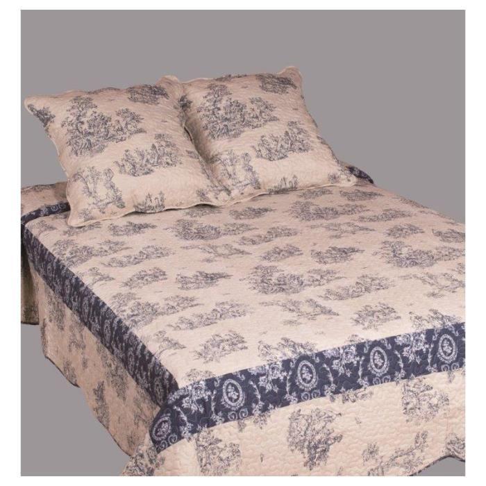 couvre lit toile de jouy achat vente couvre lit toile de jouy pas cher les soldes sur. Black Bedroom Furniture Sets. Home Design Ideas