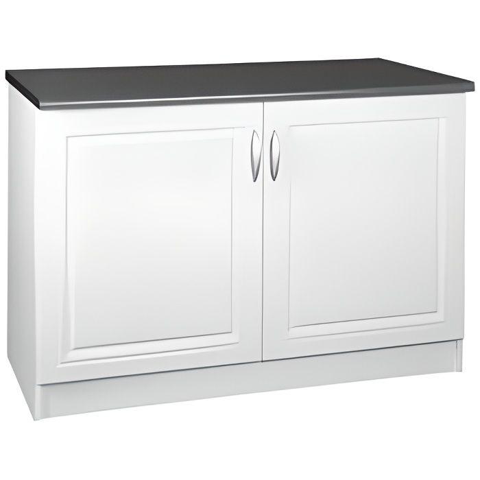 Meuble cuisine bas 120 cm 2 portes dina blanc achat - Plan de travail cuisine largeur 100 cm ...