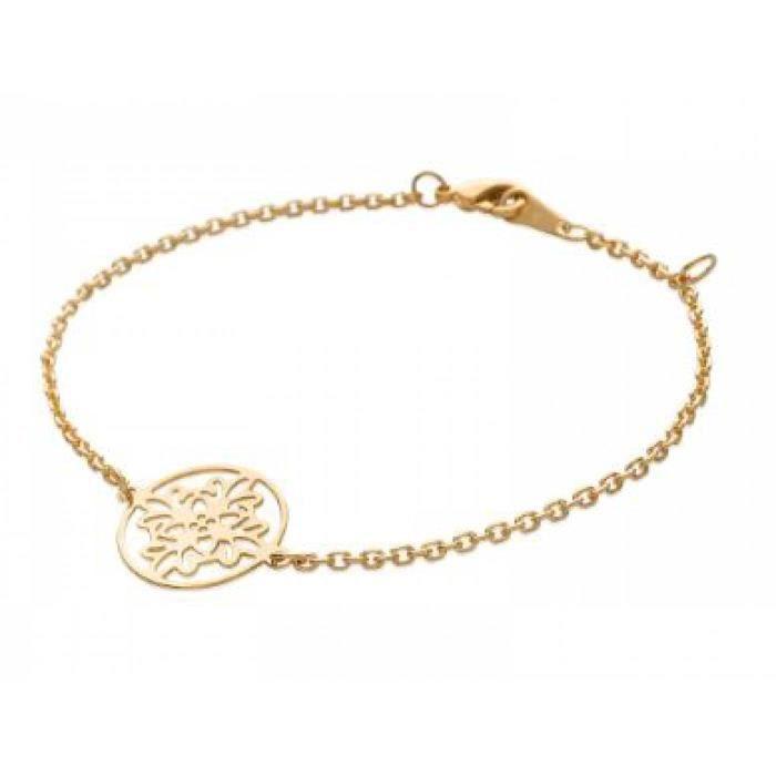 bracelet femme plaqu or rose sculpt e rosace bijoux en. Black Bedroom Furniture Sets. Home Design Ideas