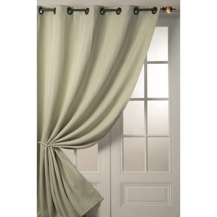 rideaux en toile fines rayures vert 140 x 260cm achat vente rideau toile 100 polyester. Black Bedroom Furniture Sets. Home Design Ideas
