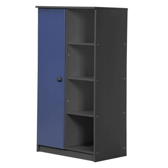 paris prix placard enfant 1 porte avola 136cm graphite bleu achat vente armoire de. Black Bedroom Furniture Sets. Home Design Ideas