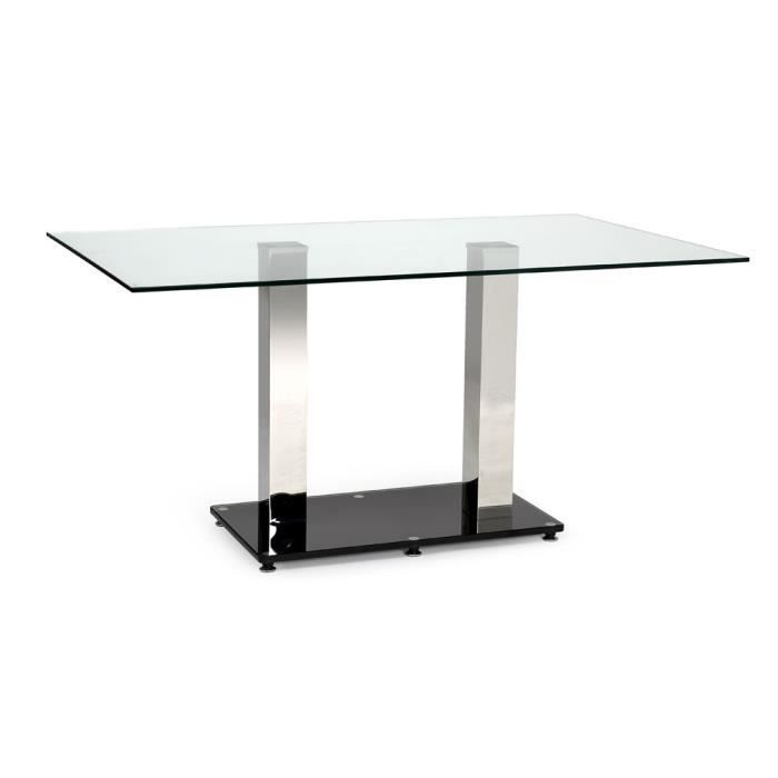 Table swithome paolinya transparente noire achat vente for Table a manger transparente
