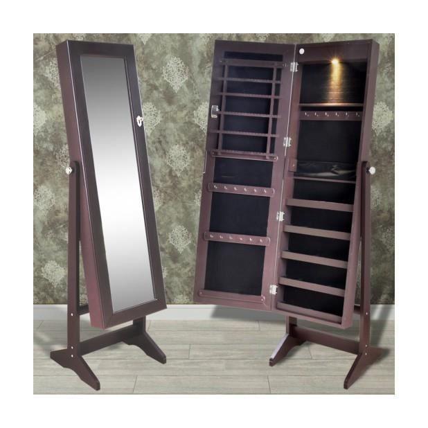 superbe armoire bijoux sur pied avec miroir et clairage led brun achat vente armoire a. Black Bedroom Furniture Sets. Home Design Ideas