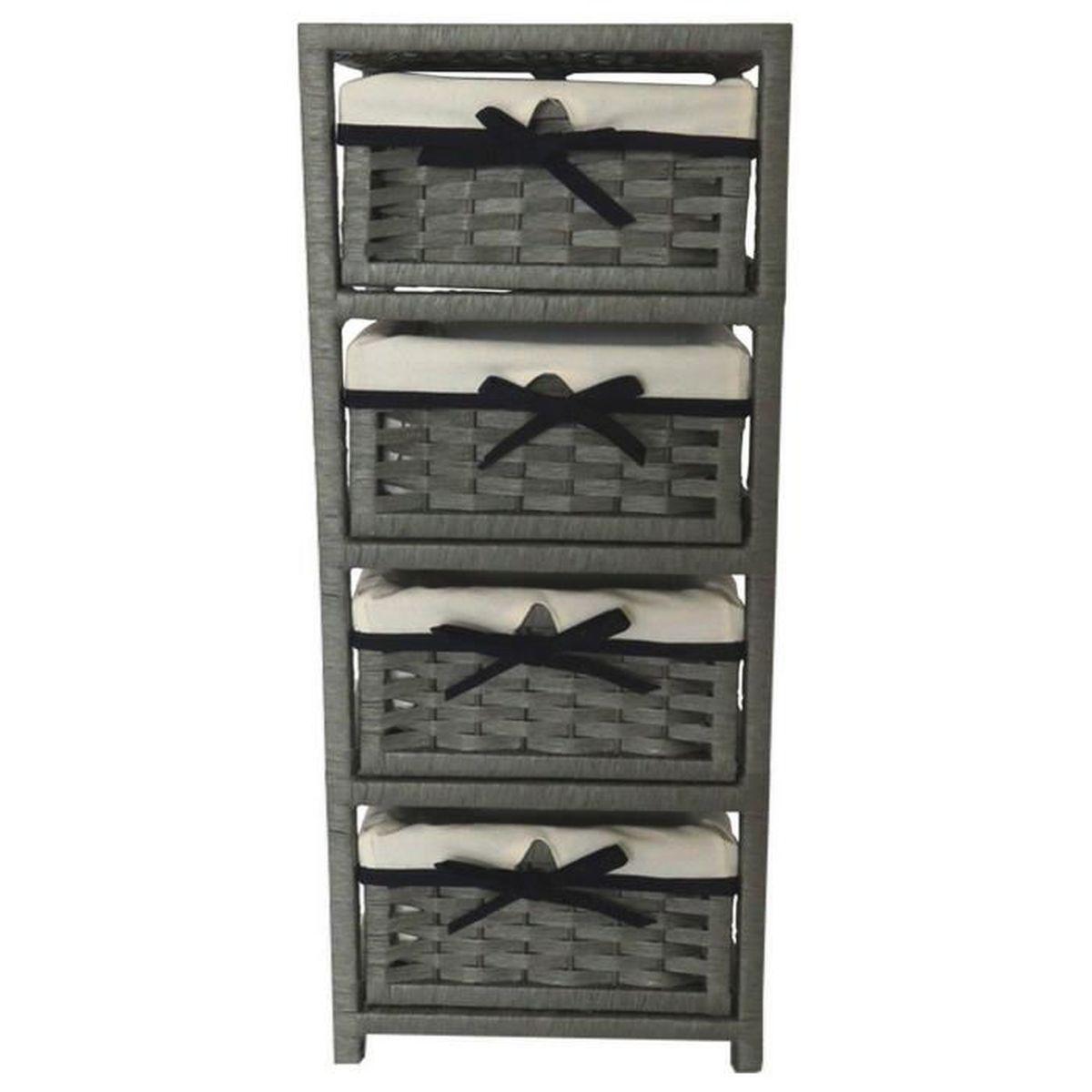 meuble colonne 4 paniers de rangement gris marron achat vente petit meuble rangement meuble. Black Bedroom Furniture Sets. Home Design Ideas