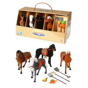 UNIVERS MINIATURE Ecurie et 4 chevaux