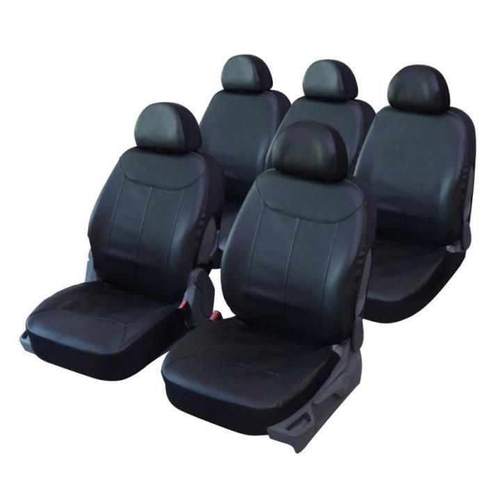 Housses de si ge en simili cuir noir pour renault scenic qd220 achat ve - Housse de chaise en simili cuir ...