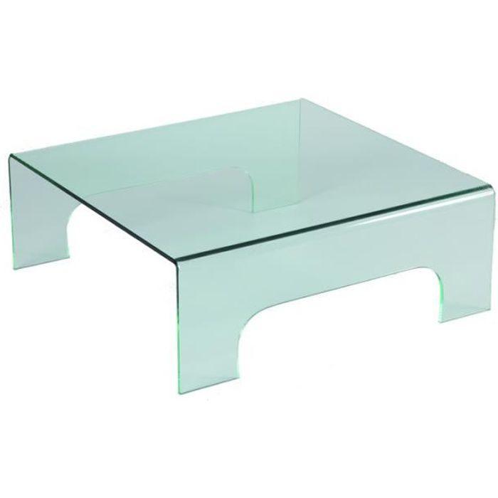 Table basse carr e en verre sur pieds clean achat for Table basse 3 pieds