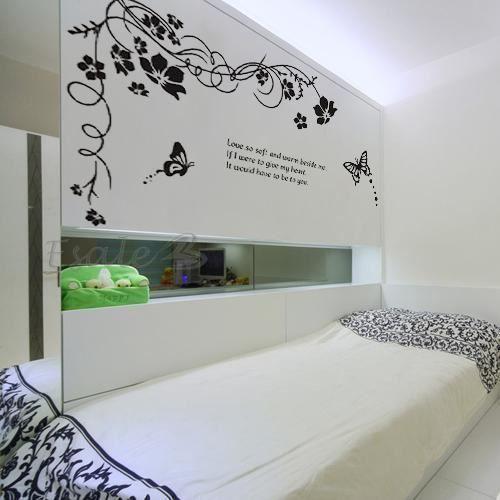 Sticker mural d co amovible vigne papillon noir en pvc 60x90cm pour ma son - Stickers pour maison ...