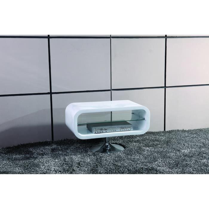 Meuble tv design pop blanc laqu achat vente meuble tv - Meuble tv pivotant design ...