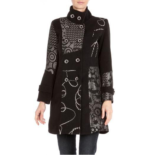 manteau 3 4 cintr noir gris noir gris achat. Black Bedroom Furniture Sets. Home Design Ideas