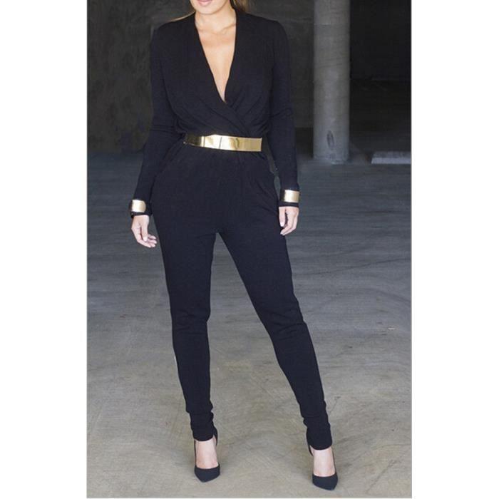 combinaison femme hiver sexy deep v neck bandage manche longue combinaison pantalon jumpsuit. Black Bedroom Furniture Sets. Home Design Ideas