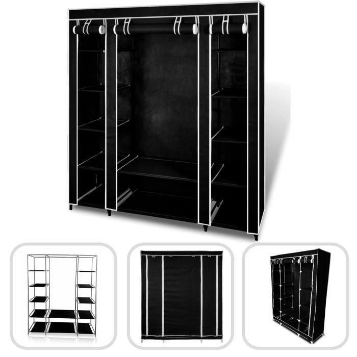 Wofalo armoire penderie noire en tissu 3 portes achat for Armoire penderie 3 portes