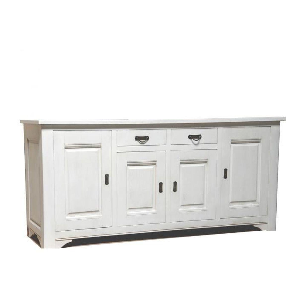 bahut 4 portes ch ne massif blanc tr teaux meuble house. Black Bedroom Furniture Sets. Home Design Ideas