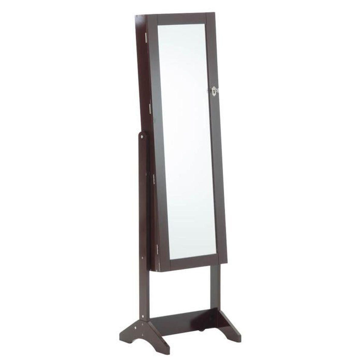 armoire bijoux avec miroir wenge 147 x 42 x 36 cm. Black Bedroom Furniture Sets. Home Design Ideas