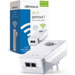 devolo 9384 dLAN 1200+ Wifi ac, Prise CPL Wi-Fi 1200 Mbit/s, 2 ports Gigabit Ethernet, Prise Intégrée, Module complémentaire (x1)