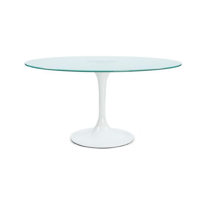 Table Manger En Verre Design Nelly Couleur Blanche