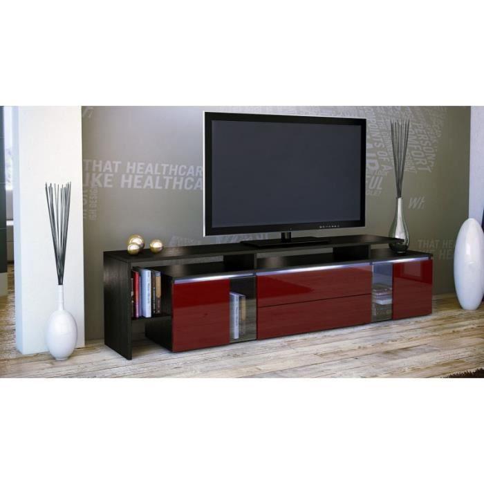 Meuble tv design noir et bordeaux avec led 187 cm achat vente meuble tv m - Meuble design bordeaux ...