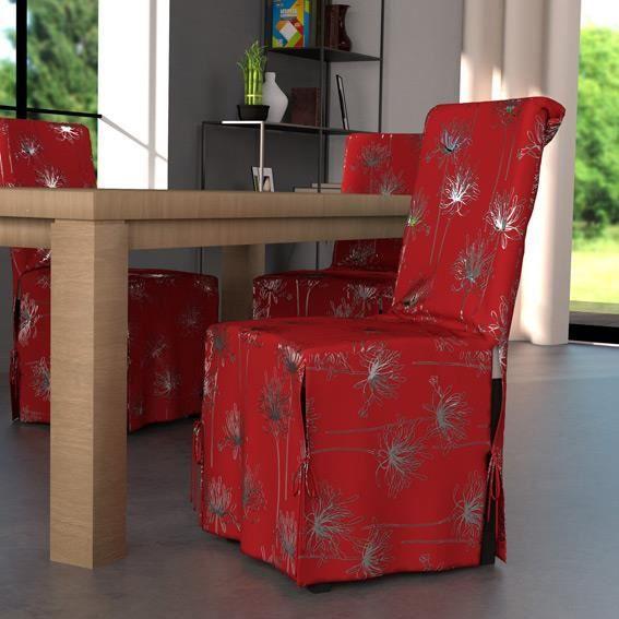 Housse de chaise emma rouge achat vente housse de for Housse de chaise rouge