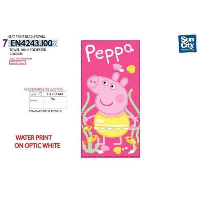 Serviette de plage peppa pig 70x140 achat vente - Peppa cochon a la plage ...