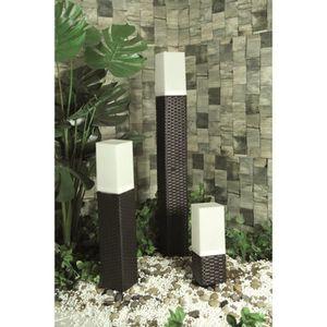 MUNDUS Potelet tressé solaire en plastique 9x9x50 cm - Noir