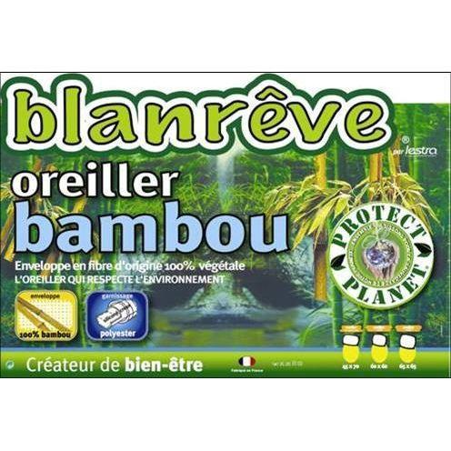 Blanr ve oreiller 65 x 65 cm bambou achat vente oreiller cdiscount - Oreiller ergonomique bambou ...