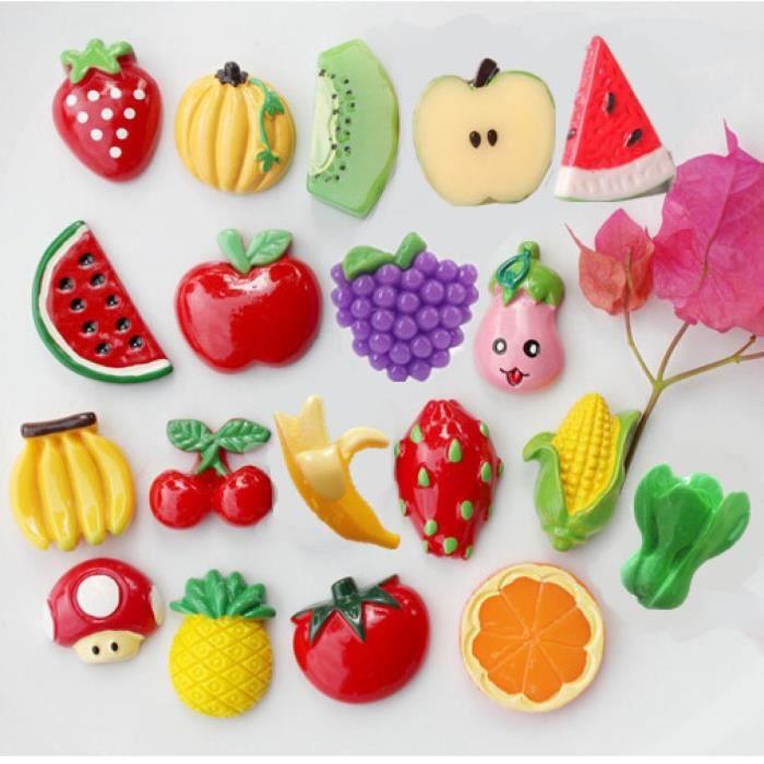 10 pcs organic fruit l gumes r frig rateur maison de d coration aimant banaa ma s cerise citron. Black Bedroom Furniture Sets. Home Design Ideas