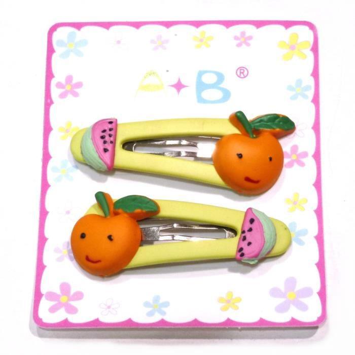 accessoires cheveux barrette enfant clic clac fruit orange achat vente barrette. Black Bedroom Furniture Sets. Home Design Ideas