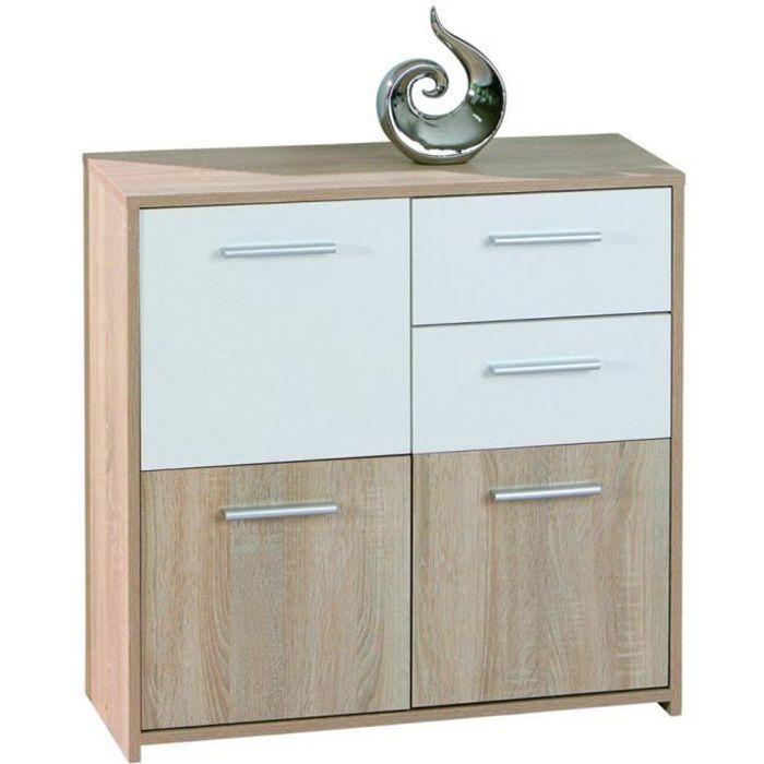 commode avec 3 portes et 2 tiroirs ch ne de sonoma dim 77 x 30 x 77 cm achat vente. Black Bedroom Furniture Sets. Home Design Ideas