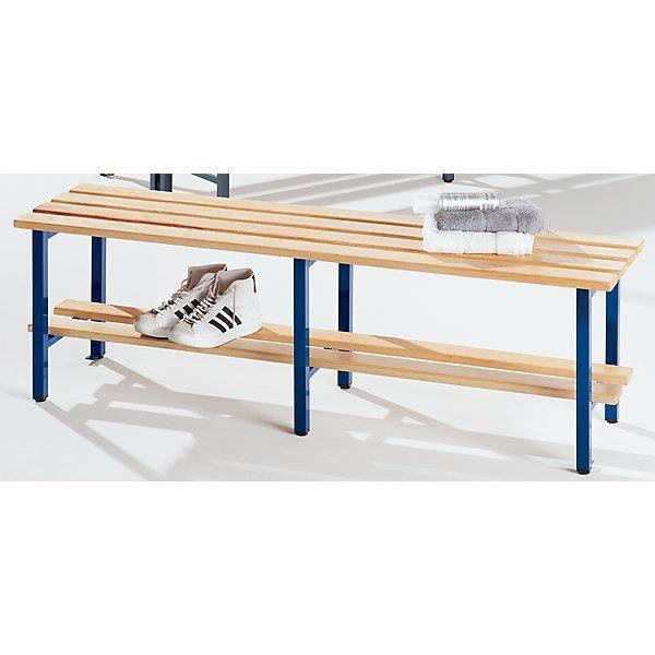 banc de vestiaires lattes en bois sans dossier avec grille pour chaussures longueur 2000. Black Bedroom Furniture Sets. Home Design Ideas